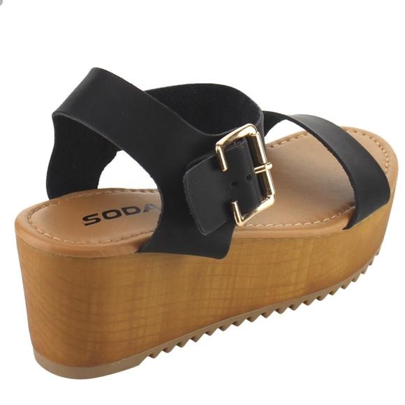 be0ffb2d5 Soda Ayla Black ankle strap flat-form